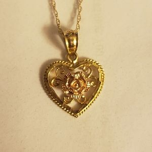 Jewelry - Yellow/rose gold heart necklace